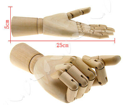 Wooden Hand Left Body Artists Model Jointed Articulated Wood Artwork Sculpture