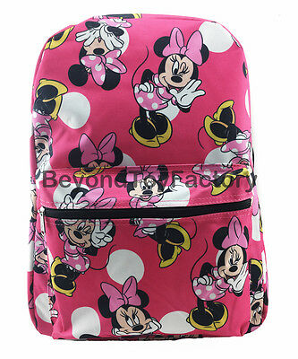 "Disney Minnie Mouse Pink Polka Dots 16"" Canvas School Backpack Book Bag"
