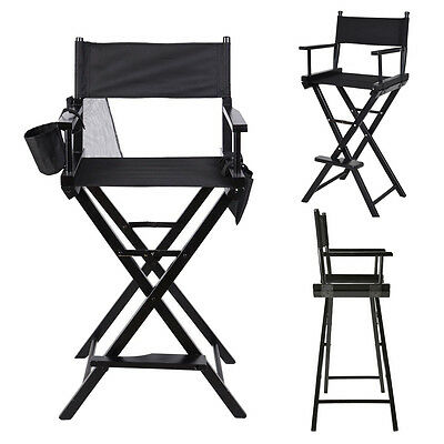 Black Folding Makeup Artist Directors Chair Salon Make Up Use with Two Side Bags