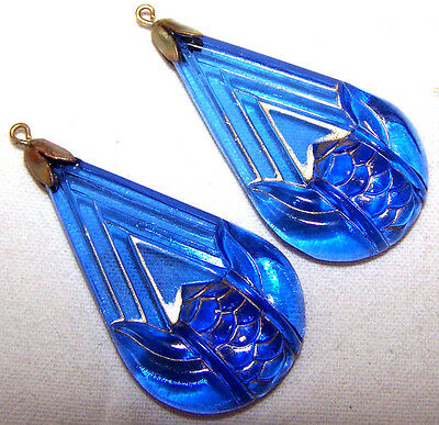 2 PIECES OF VINTAGE ORNATE SAPPHIRE BLUE glass drops with settings