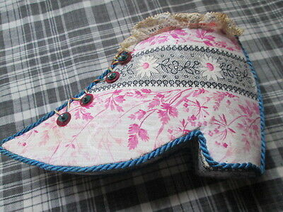 Antique handmade pin cushion from linen/sequins/beads/lace/velvet