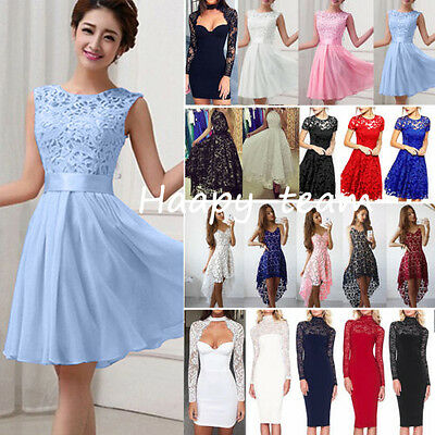 Women Lace Floral Formal Dress Prom Evening Party Cocktail Bridesmaid Wedding