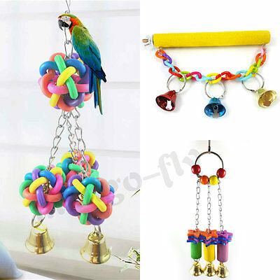 Pet Bird Cage Swing Perches Stand Platform Chew Climb Bell Toy for Parrot Bites