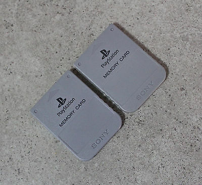 2 x Sony Playstation 1 PS1 Genuine Memory Card (SCPH-1020) Grey