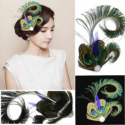 1920's Vintage Peacock Feather Fascinator Wedding Hair Clip Bridal Dance Party