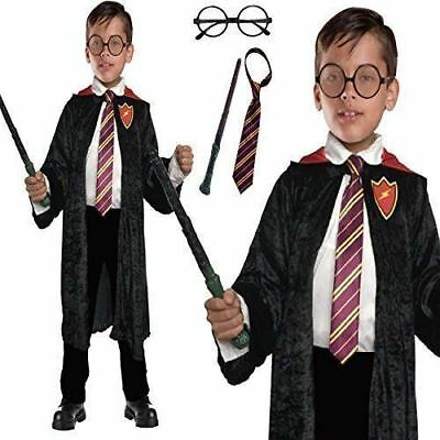 Harry Potter Wizard Cloak Cape Tie Wand Fancy Dress Book Day Week Costume outfit