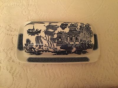 Churchill Blue And White Willow Pattern Butter Dish