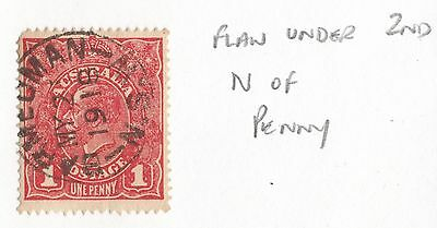1914-24 1d Red George V UNLISTED FLAW as Per Scan FINE USED,.,