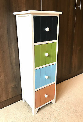 4 Drawer Multi Colour Storage Unit Tall Slim Cabinet Childrens Bedroom Retro