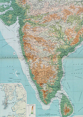 Map of India Southern Large 1922 Original Antique