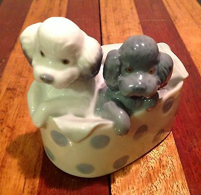 NAO two poodle dogs in a basket porcelain ornament figurine 1988 Lladro Spain