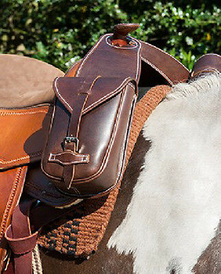 HKM Western Leather Horn Saddle Bag in Brown BNWT