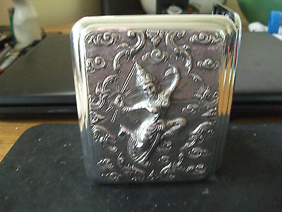 Antique Solid Sterling Silver Siam Cigarette Case Superb Condition