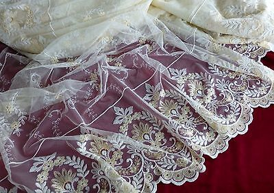 "5 yards x 57"" Divine Vintage French  Embroidered Tule for Curtain, Panel Lace"