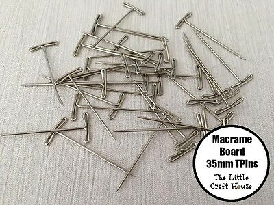 35PC x T Pins for Macrame Board 35mm Tpins Made in USA Knotting Braid Craft DIY