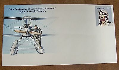 Australia Pre Stamped Envelope. 50th Annivesary Sir Fancis Chichester Flight
