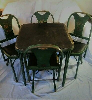 Louis Rastetter & Son's Antique Table & folding chairs set Solid Comfort 5 piece
