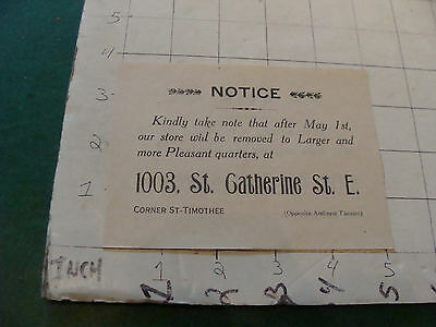 vintage NOTICE: STORE MOVING to 1003 st. Catherine st. E English & French