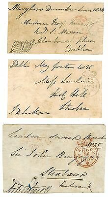 Gb 1834 + Unresearched X 3 Free Fronts Signed And With Cancels Postal History