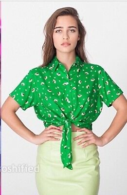 17b78241dc876 American Apparel Mid Length Tie Up Blouse Petal Showers On Green Rayon XS S