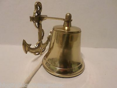 Vintage? Small Maritime Brass Boat Anchor Bell Nautical Decor With Clapper