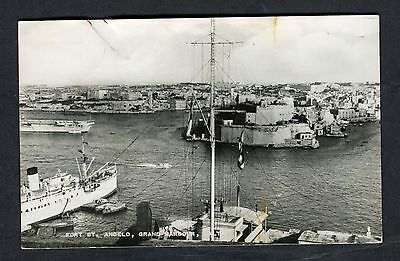 Posted 1957 View of Ships by Fort St. Angelo, Grand Harbour Malta