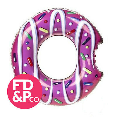 """Wild N Wet Funky Inflatable Donut With Bite Swim Ring Pool Tube Party 48"""" 122cm"""