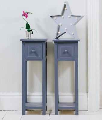 Pair of Telephone Tables With Drawer Graphite Two Hallway Slim Living Room Table