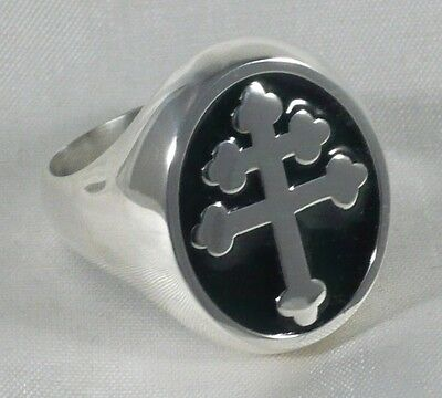 Lorraine Cross Ring In 925 Solid Sterling Silver Magnum Pi Team