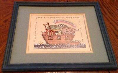 "Noah's Ark Wooden Framed Picture 12"" X 15""- ""Lord Lift Me Up to Higher Ground"""