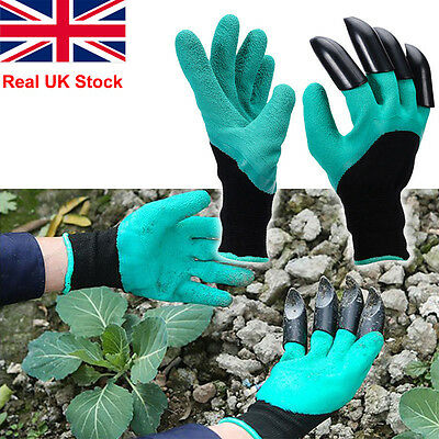 Pair Garden Gloves For Digging&Planting with4 ABS Plastic Claws Gardening Hot