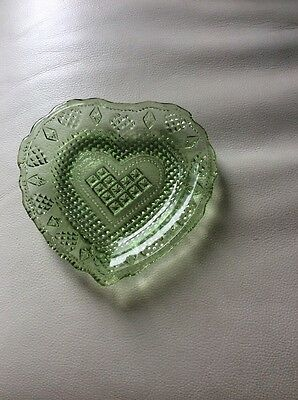 Lovely! Vintage Green Pressed Glass, Heart Shaped Dish