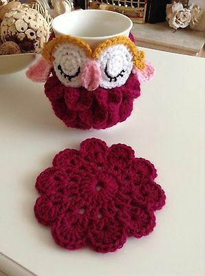 Cute Hand Crochet Owl Mug Cosy And Coaster.