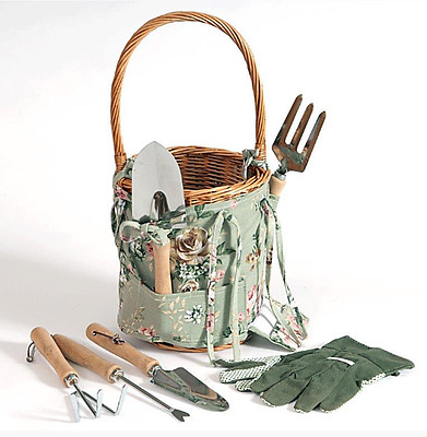 Wicker Floral Gardening Basket With 5 piece Steel Tool Set + Garden Gloves New