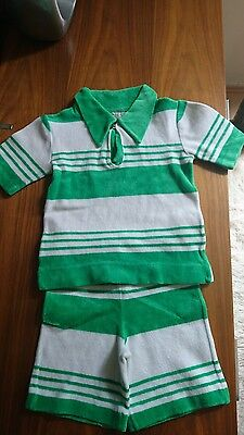 Vintage Boy French Made Towelling Stripes Summer Outfit Set