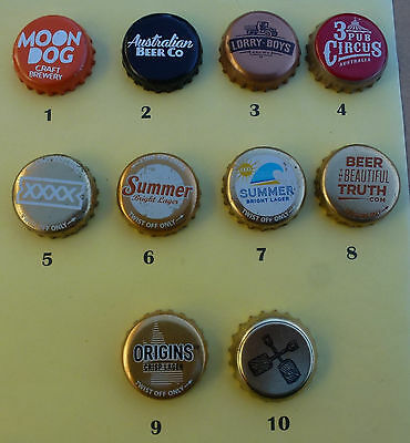 10 Crown Seal Caps from Large and Small  Australian Brewieries (Lot 9)