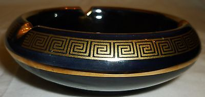 Beautiful Sc Greece Black Porcelain 24K Gold Trim Ashtray Depicts Ancient Greek