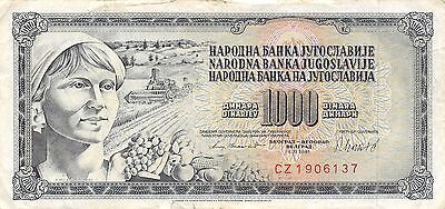 Yugoslavia  1000 Dinara  4.11.1981  Series CZ  Circulated Banknote W0617