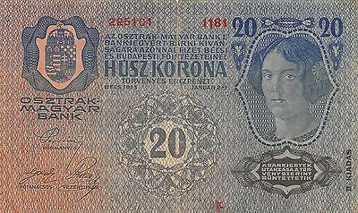 Austria / Hungary Empire  20 Kronen  2.1.1913  Series 1181  Circulated Banknote