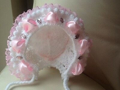 Hand Knitted Romany Bling Baby Girls Bonnet In Size 0-3 Months
