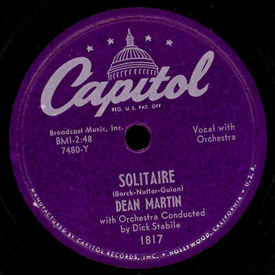 DEAN MARTIN  Solitaire / I ran all the Way home  Schellackplatte  78rpm  S2455