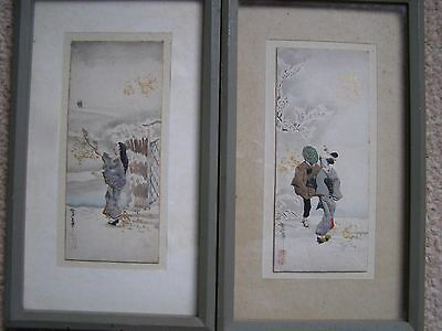 2 exquisite Japanese paintings  highlighted with origami figures made of silk