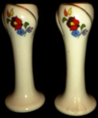 Vintage Kalocsa Hungary Hand Painted Porcelain Candle Holders Set Of 2