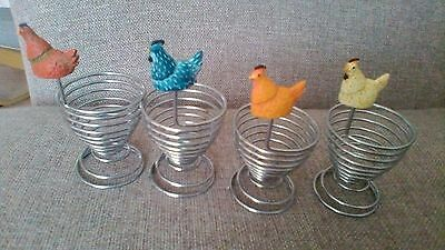 Vintage 4 x novelty coil/spring egg cups with chicken