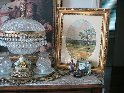 Stunning Oval Cameo Ornate Gold Frame Tapestry Country Scene Autumn Tones