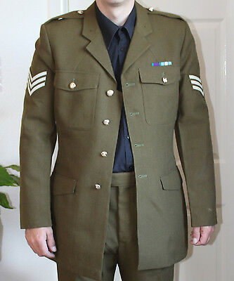 Vintage No2 British Army Dress Uniform with Sgt Stripes & Medal Ribbons