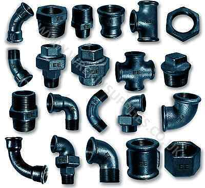 "Black Malleable Iron Pipe Fittings Bsp 1/8""-4"" Quality Ee Male Female Adaptors"