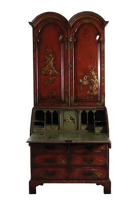 Queen Anne style japanned secretary bookcase Lot 110