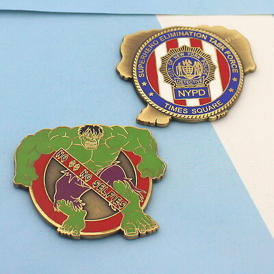 Challenge Coin New York Police NYPD Times Square hulk no selfies