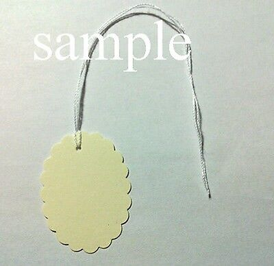 "50 Jewelry Gift Hang Scalloped Oval Tags with White String 1-1/8""x1-1/2"" - Cream"